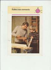 Vintage Knitting Pattern, Father & son Crewnecks, 30-44in, fol 320