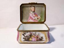 Antique 19thC Hand Painted Porcelain PORTRAIT MINIATURE Girl un Lid TRINKET BOX