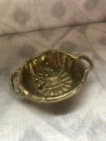 vintage Brass Small Wicker Basket Collectable Serving Tray For Nuts Dried Fruits