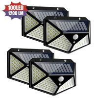 Solar Power Wall Light PIR Motion Sensor Security Garden Outdoor  100 LED Lights