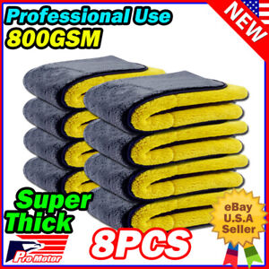 8pc Thickest Microfiber Cleaning Cloth No-Scratch Rag Polishing Detailing Towel