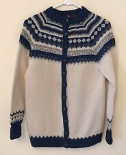 Vtg Dannit Pure Wool Womens M Ivory & Blue Nordic Button Down Cardigan Denmark