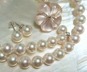 CERTIFICATE Cacher Akoya Hanadama pinkish pearl necklace earnings JAPAN 8mm set