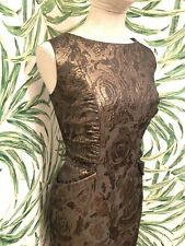 David Meister Brocade Metallic Floral Sheath Cocktail Party Dress Size 12 Is