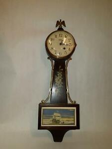 Vintage New Haven Warwick 8 Day Winding Banjo Wall Clock Key Wood Americana Home