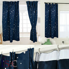 Kids Childrens Moons and Stars Blackout Lined Curtain Navy Blue Ready Made UK