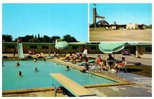 Roadside Postcard Sands Motor Lodge Joplin MO Sign Pool Slide Diving Board