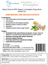 Simply Natural100% Organic Lemongrass Ginger Root Herbal Tea (30 Tea Bags)