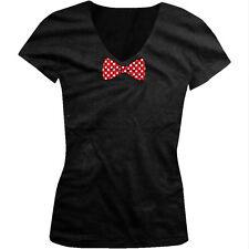 Polka Dot White And Red Bowtie  Juniors V-neck T-shirt