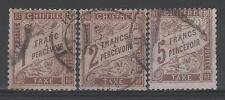 "FRANCE STAMP TIMBRE TAXE 25 / 27 "" DUVAL 1F +2F + 5F MARRON "" OBLITERES TB M838"