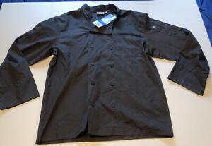 NWT CHEFWORKS Size Large BLACK Chef Coat Jacket Kitchen Work Cook Uniform
