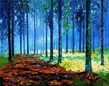 ANDRE DLUHOS Forest Tree Landscape Blue Misty Woods Fog LTD edition Art PRINT