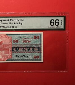 661 SERIES 50C MILITARY PAYMENT CERTIFICATE,PMG GRADED GEM NEW 66EPQ..GREAT DEAL