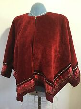 Womens Poncho Stole Cape Shrug Wrap Shawl Coat Cloak Cardigan Red One Size