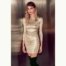 Lulu's Women's Olive And Oak Young Money Gold Dress Size S EUC Night-out Dress