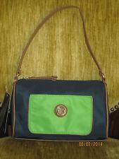 Tommy Hilfiger Navy Blue & Green Colorblock Shoulder Bag NWT