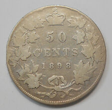 1898 Fifty Cents aVG ** Nice SCARCE Date Late Queen Victoria KEY Old Canada 50¢