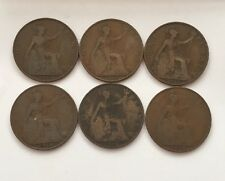 Gp Of x6 World War One Date Bronze Engish George V Pennies (A31)