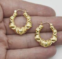 10k Solid Yellow Gold hoop Hugs &Kisses Earrings 25mm  3.3GR  1.00''