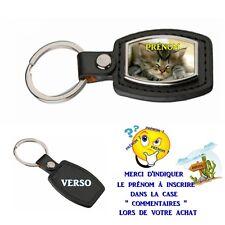 porte clé simili cuir chat personnalisé avec prénom choix réf 09