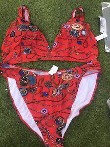 Boohoo Plus Red Chain Print High Leg Deep Plunge Bikini Set Size 22 BNWT