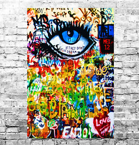 STUNNING ABSTRACT GRAFFITI POP ART #7 QUALITY A1 CANVAS PICTURE WALL ART