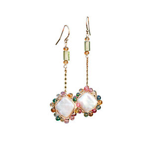 Nice Baroque Freshwater pearl natural Colorful Tourmaline Earrings 65mm E335