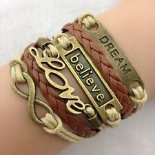 Hot Infinity Believe Dream Leather Cute Charm Bracelet Bangle Bronze DIY Sanwood