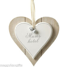 Mums Hotel - Shabby Chic Heart Wooden Hanging Plaque Sign Saying White Wood Mum