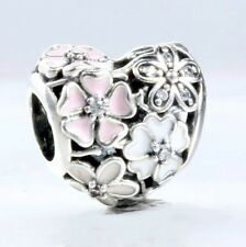 BLOOMS are POETIC w Pink & White  .925 Sterling Silver European Charm Bead