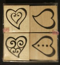 Jrl Design Co Set Of 4 Rubber Stamps Wood Mounted- Dancing Hearts