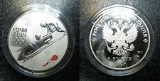 2014 Russia Large Silver 1 OZ Proof 3 Roubles Sochi Olympics Bobsleigh