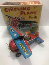 Vintage Japan Tin Masudaya Toys Battery Operated Circling Plane