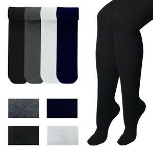 Girls School Tights Cotton Rich Lycra Uniform Black Grey Navy 5-6 7-8 9-10 Years