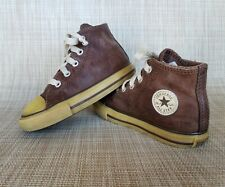 Infant Toddler CONVERSE  All Star Brown Leather Hi-top Sneakers Size 8
