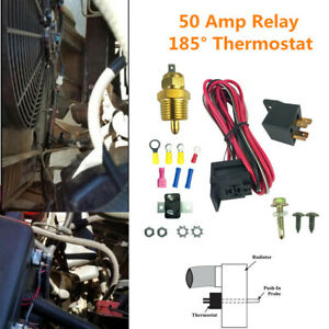 Electric Radiator Cooling Fan Wiring Install Kit 50Amp Relay 185° Thermostat SBC