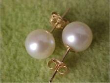 REAL HUGE AAA 7.5-8 mm south sea white pearl earrings 14K