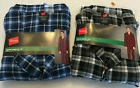 NWT Men's Hanes Flannel BLUE  / BLACK Gray Plaid L/S Pant Set Pajamas PJs Cotton