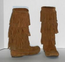 """LAURA CONRAD - FRINGED 13"""" KNEE BOOTS – CHESTNUT SUEDE LEATHER – SIZE 10 –VG/EXC"""