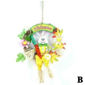 Straw Easter Rabbit With Wreath Garland Party Door For Home Decoration Hot G3T9