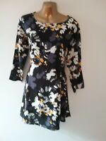 F& F 12 Purple black Fit Flare Long Sleeve light smart work Spring Summer Dress