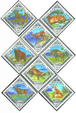 Wild Animals Mint NH Set 8 Different Triangle Stamps Tuva 1994