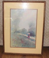 Vintage ADOLF SEHRING Framed Print Lithograph SPRING SHOWERS Mother Child Meadow