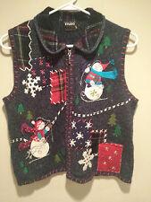 Vintage Retro Ugly Christmas Sweater Tacky - Medium Blue - Designer Studio Vest