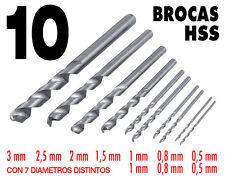 10 Brocas HSS de 0,5 a 3 mm. Hierro, latón, plástico, madera... Ideal modelismo.