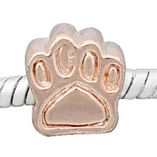 Dog Paw Rose Gold Plated Base Charm European Bead Compatible for Most European S