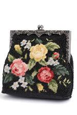 Needlepoint Women Purse Evening Bag Vintage Style Black