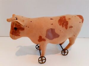 Very Old Antique Vintage Felt Cow On Metal Wheels Pull Toy Steiff ? 10 by 8 inch