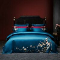 Chinoiserie Embroidery Birds Duvet Cover Set Luxury Egyptian Cotton Bedding Set