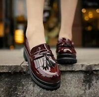 Women Platform Tassel Patent Leather Creeper Slip On Loafers British Retro Shoes